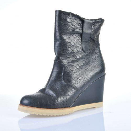 Boots cuir façon python noir – ROBERT CLERGERIE