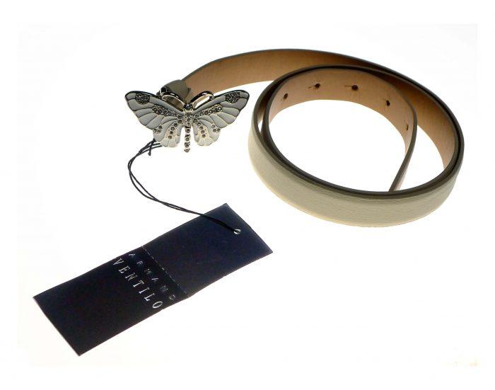 Ceinture en cuir boucle papillon Armand ventilo occasion neuf les chineuses chics