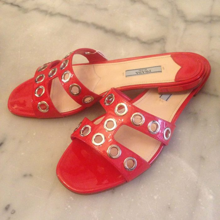 chaussures Mules Prada cuir vernis rouge occasion neuf