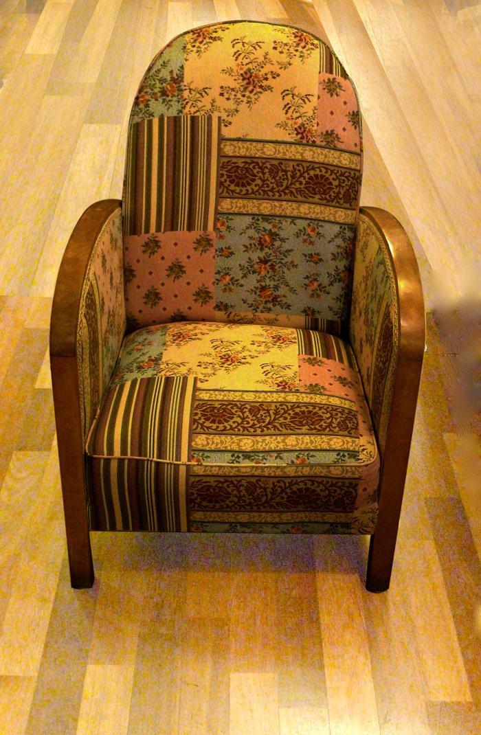 fauteuil art déco tissu patchwork fleurs