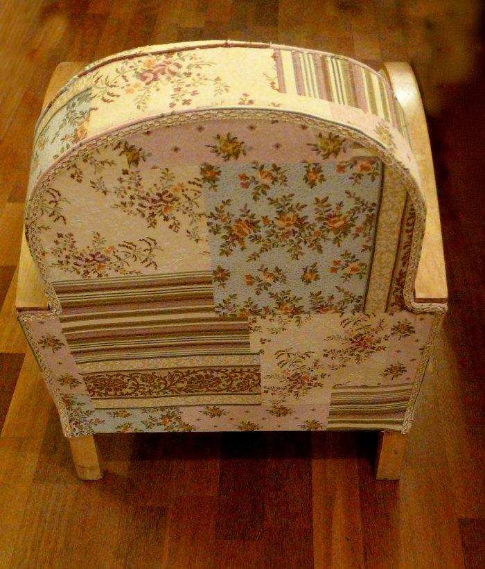 Fauteuil art déco patchwork style vintage DIY