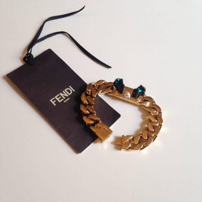 Bracelet gourmette FENDI dore et cristaux Swarovski