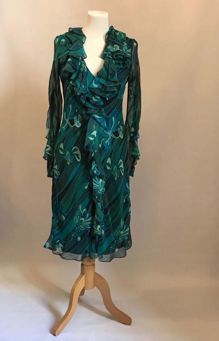 Robe 100% soie bleu vert créateur JEROME L'HUILIER occasion