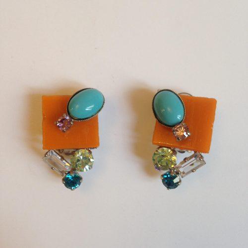 Boucles d'oreilles clips strass couleur – PHILIPPE FERRANDIS