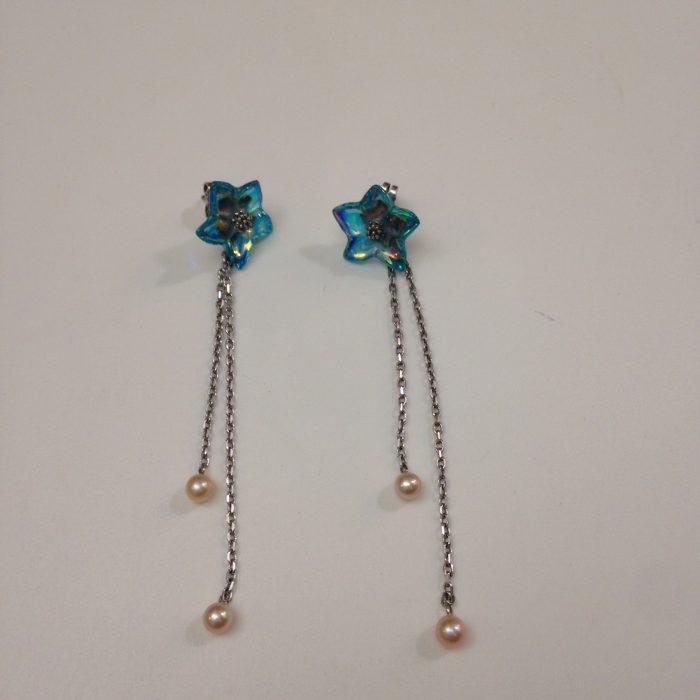 boucles d'oreilles pendantes cristal baccarat