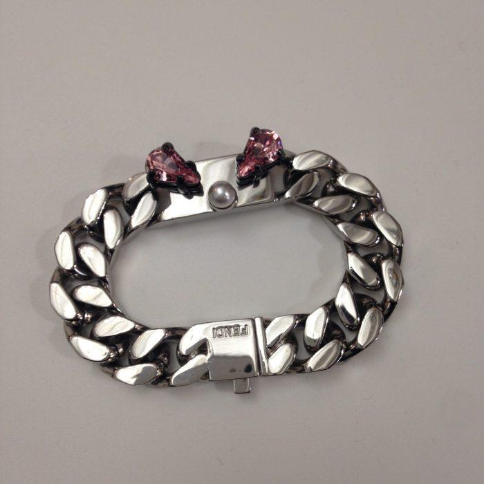 Bracelet gourmette monster fendi acier et cristal