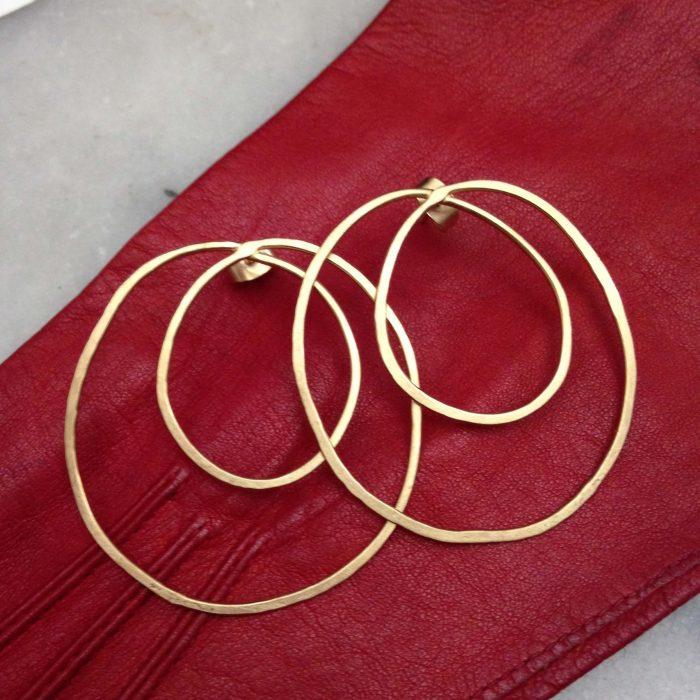 boucles d'oreilles saturne laiton plaque or atelier horizon