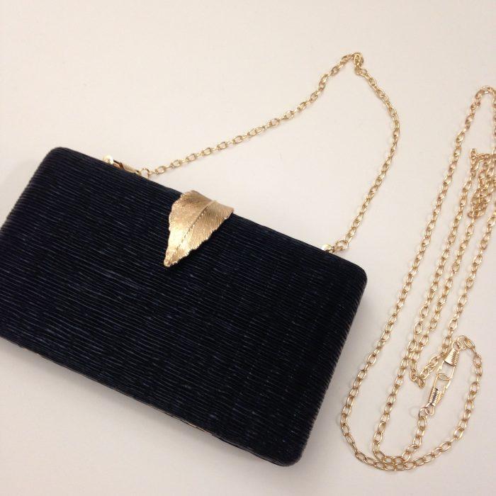 sac pochette de soirée noire et doré feuille et chaine