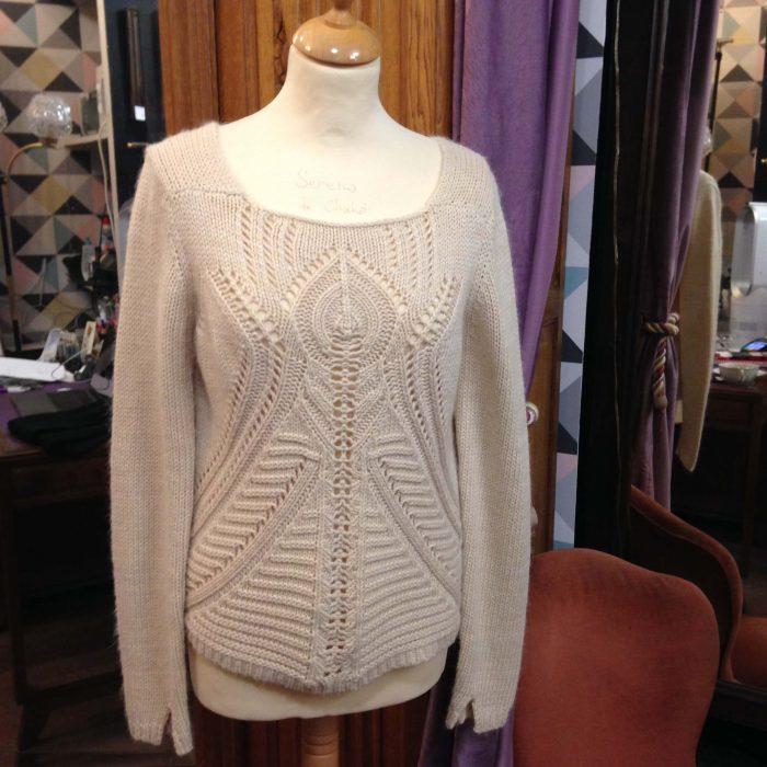 pull antik batik écru en laine occasion femme