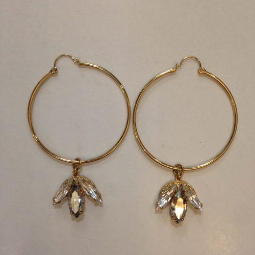 Boucles d'oreilles créoles en plaqué or et cristal – ANTON HEUNIS