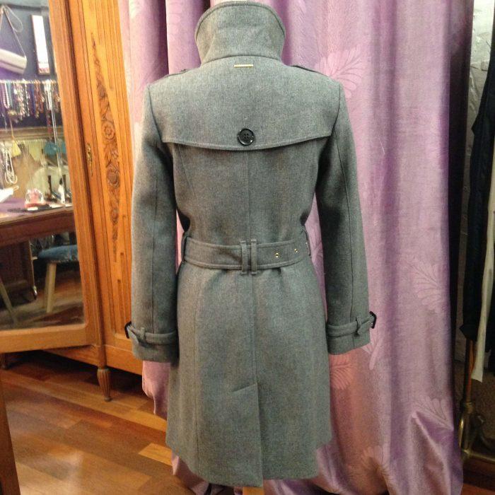 manteau gris ceinture en laine Burberry femme