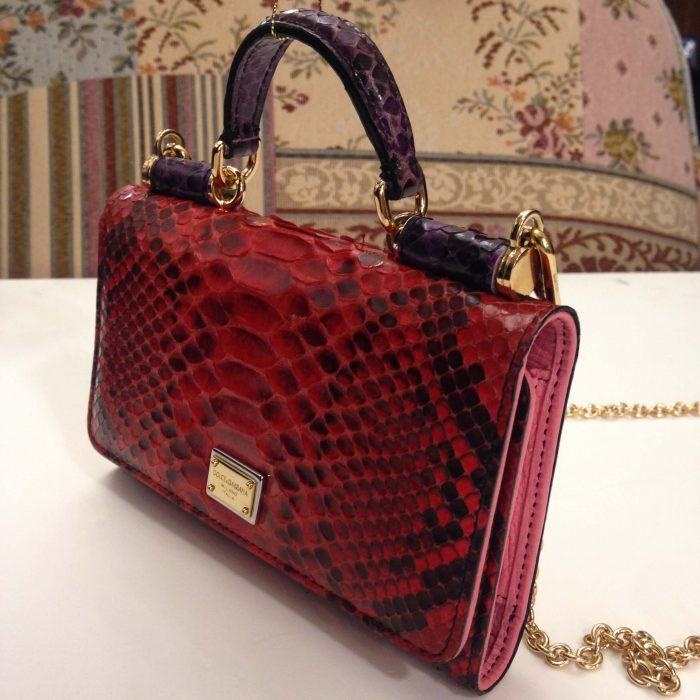 sac pochette portefeuille sicily von bag dolce & gabbana en python rouge
