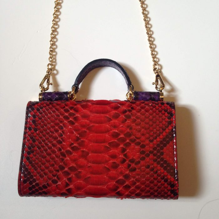 sac python rouge avec chaine or dolce & gabbana Sicily von bag