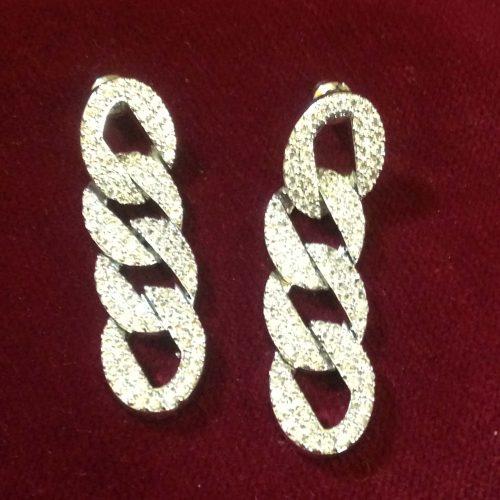 Boucles d'oreilles maillons en zirconium