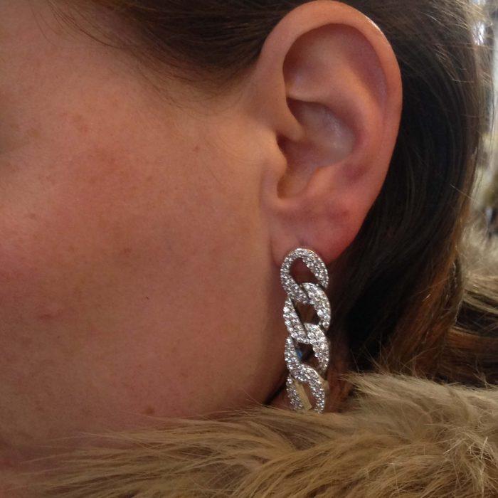 oucles d'oreilles maillons en zirconium argenté fantaisie