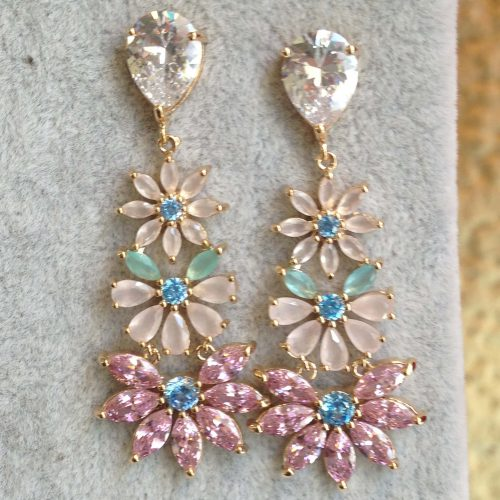 Boucles d'oreilles pendantes fleurs