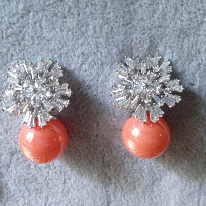 boucles d oreilles fantaisie en zirconium et perle