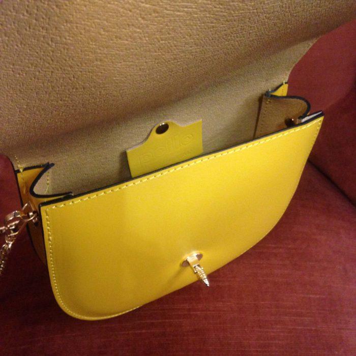 Mini sac a main en cuir jaune citron neuf