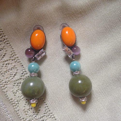 Boucles d'oreilles à clips multicolores – PHILIPPE FERRANDIS