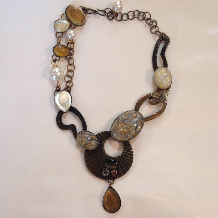 collier bonze femme perles nacrées Philippe Ferrandis
