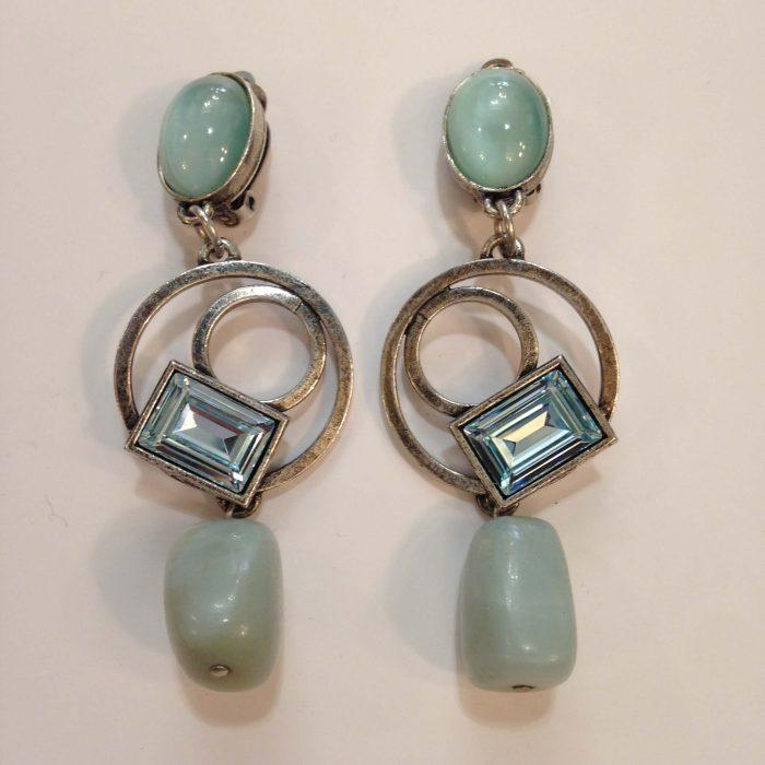boucles d'oreilles à clips bleues pendantes Philippe ferrandis